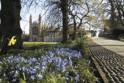 King's College Chapel yn Spring